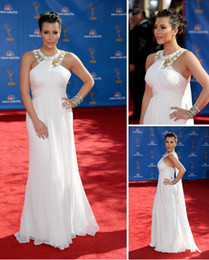 Wholesale 2013 Sexy Kim Kardashian Red Carpet Evening Dress Emmy Awards White Chiffon Celebrity Dresses