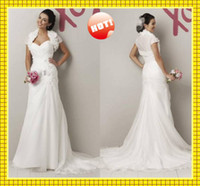 Reference Images Sweetheart Chiffon Grace White Floral Chiffon Sheath Sweetheart Pleats Short Sleeved Jacket Chapel Sexy Wedding Dresses
