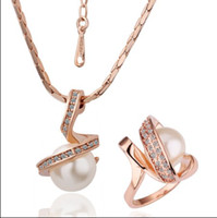 Wholesale Top quality plated K rose gold pearl necklace Ring Fashion Jewelry Set set
