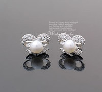 Wholesale Fashion Jewerly Girls Bling Crystal Silver Bow Pearl Stud Eearrings Ear Fit Free Ship