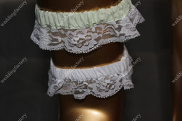 Wholesale Lace Bridal Garters with Bowknot Beaded White and Green Ladies Wedding Garters in Stock