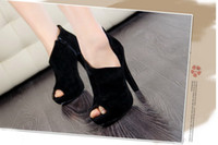Wholesale 2013 New Korea Fashion Black Sexy Platform Peep Toe Boots Stiletto Heel Dress Shoes