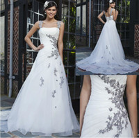 Cap Sleeves Black charcoal Embroidery Organza White Wedding ...