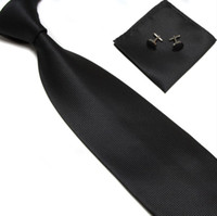 Wholesale Men s Tie Cuff Links Handkerchief Set SILK New Christmas Gift