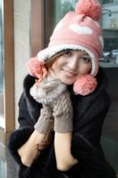 Wholesale HOT Warm gloves lady diamond twist female fur knitting cheap wool grows half finger gloves