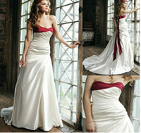 Strapless Ruffles Satin Red And White Wedding Dresses 2013 N...