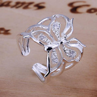 Wholesale factory price fashion silver EP charm new butterfly crystal ring jewelry Christmas gifts R35