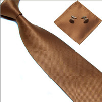 Wholesale New Classic lattice JACQUARD WOVEN Silk Men s Tie Cufflink Hanky Set Necktie