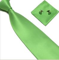 Wholesale Factory Mens Silk Neck Tie Set Wedding Party Necktie Hanky Cufflinks Green