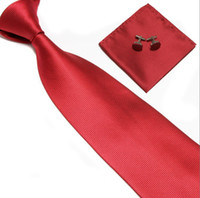 Wholesale Red Solid amp Woven Ties with Matching Hankies amp Cufflinks Gift Set