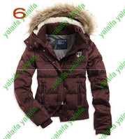 Down ae black - New Women s AE Coffee Down Coat Jacket Winter parka Fur Hooded Down Coats Hoodies Outerwear
