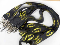 Wholesale DHL Black Batman logo Mobile Phone Lanyard Key Card ID Chain Neck Straps