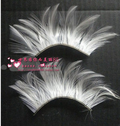 Wholesale White feather exaggerated personality of false eyelashes ball shape false eyelashes