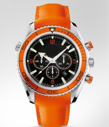 Factory Seller Luxury New In Box Chrono Auto Orange Bezel Leather Band Automatic machinery Mens Watch Sport Men's WristWatches