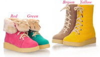 Wholesale Women Snow Boots Round Matte leather Flat Boots In tube Snow Botts The Front Tether Design