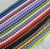 Wholesale 15 off Pretty Mixed Color Round Pearl Glass Loose Bead mm