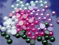Wholesale Half plastic Pearl Bead mm Scrapbook For Craft Flatback Beads mix colors