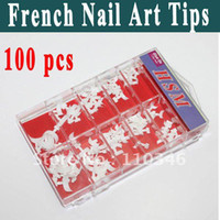 False Nail french manicure nails - package Short Acrylic French Nail Art Tips Professional salon manicure