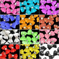 acrylic nail bows - 1000pcs3D Glitters Bow Tie Bowtie sticker Acrylic Slices Rhinestones Nail Art Tips DIY Colors Cho