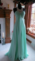 Wholesale Fashion Evening Dresses Alencon lace Beading Mint Green Chiffon Pageant Prom Gown