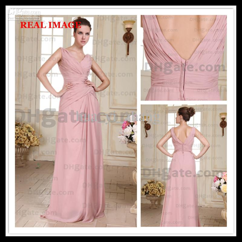 2013 Pink Wedding Dresses Chiffon Pleated Beach Destination Floor Length V Neckline Zip Up By030