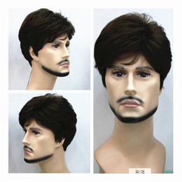 Wholesale Short Straight Medium brown Wig Mens Wigs Makes You Stand Out