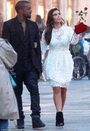 Wholesale Kim Kardashian Romantic Bridal inspired Dress Long Sleeves Lace Short Celebrity Wedding Gowns
