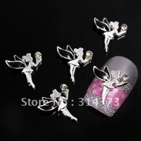 Nail Art 3D Decoration Nail Art Rhinestones Rhinestone & Decoration 100pcs lot 3D Black Lovely Fairy Little Angel Silver Tone Alloy Salon Acrylic Nail Art Tips Craft DI