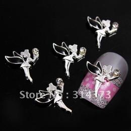 Wholesale 100pcs D Black Lovely Fairy Little Angel Silver Tone Alloy Salon Acrylic Nail Art Tips Craft DI
