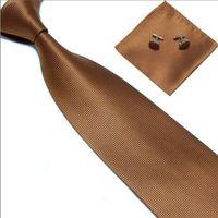 Wholesale New Classic lattice JACQUARD WOVEN Silk Men s Tie Cufflink Hanky Set Necktie