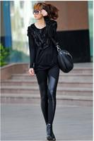 Long leather pants leggings - Autumn Winter New Arrival Sexy Women s Leggings Fashion Fux Leather Pacthwork Pants Black V12