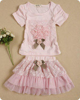 Girl Summer Short 15% OFF Summer Baby Girl 2pc Sets Tutu+T-shirt Children Clothing Bowknot Lovely Skirt Kids Lace Dresses Sets Children Birthday Gifts