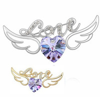 Wholesale Purple heart winged angel Crystal K Gold or Silver Alloy Brooch Corsage