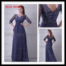 2015 Royal Blue Chiffon Prom Dresses Pleated Appliques Floor Length Three Quarter Sleeve BY034 Dhyz 01