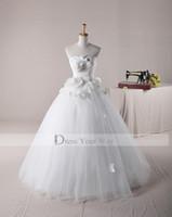 victorian ball gown wedding dresses - Victorian Wedding Dress Sweetheart Ball Gown Romantic Handmade Flowers Bridal Wedding Bridal Gowns AH002