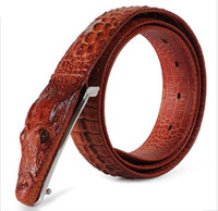 Wholesale Hot Men s Belt Belt Leather Crocodile Pattern Cow Leather Men s Business Cow Leather Belt Piece