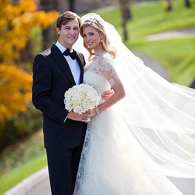 Vente Robe de mariée en dentelle Ivanka Trump glamous manches courtes Une ligne Cathderal Celebrity Robes