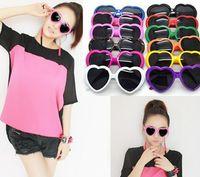 Fashion Men Womens Lolita Heart Shape Retro Sunglasses Glass...
