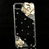 3D Luxury Handmade Crystal Bling Diamond Flower Hard Cover Case For iPhone 5 5G,DHL shipping