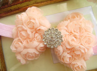 Wholesale Baby Headband quot Baby girl s Chiffon Rose Bow With mm shiny diamond Center Headbands