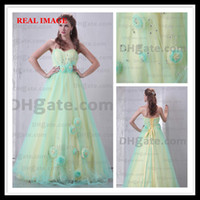 Wholesale 2015 Pleated Organza Evening Dresses Handmade Flower Floor Length Ribbon Prom Dresses BY038 Dhyz