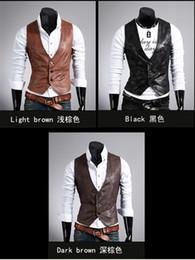 Wholesale 2327 Men s leather vest Hoodie Sweatshirt Sleeveless Men s Personality dual front panels vest