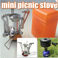 Stoves camping stove - Mini Picnic Stove Foldable Portable Outdoor Gas Burner Steel BBQ Camping Case
