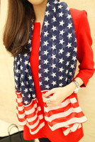 Wholesale New fashion stripes star American flag scarf cheap scarf lady shawl collar woman