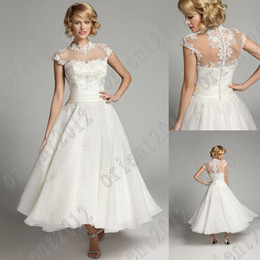 Wholesale Elegant High Collar Tea length Waist bridal dress lace Empire wedding dresses buy get