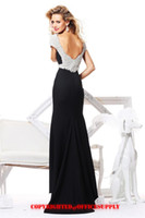 Wholesale champagne sheath evening dresses gown with Beaded cap sleeves