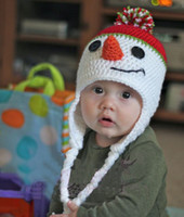 Winter baby holiday hats - Boys Mr Frosty Crochet Baby Hat White Knit Snowman Winter or Christmas Holiday Beanie