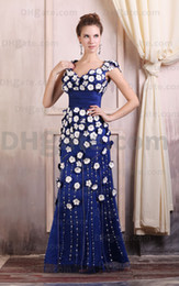 Wholesale Grace Blue V neck Hand made flower Beading Zipper Floor Length Evening Dresses LF0206
