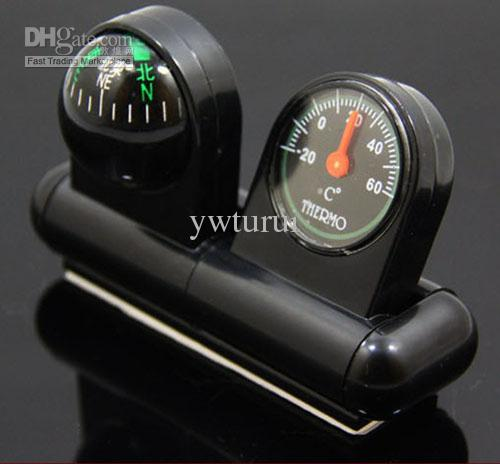 2 in 1 vehicle mounted car interior decorations thermometer and compass combination inside car. Black Bedroom Furniture Sets. Home Design Ideas