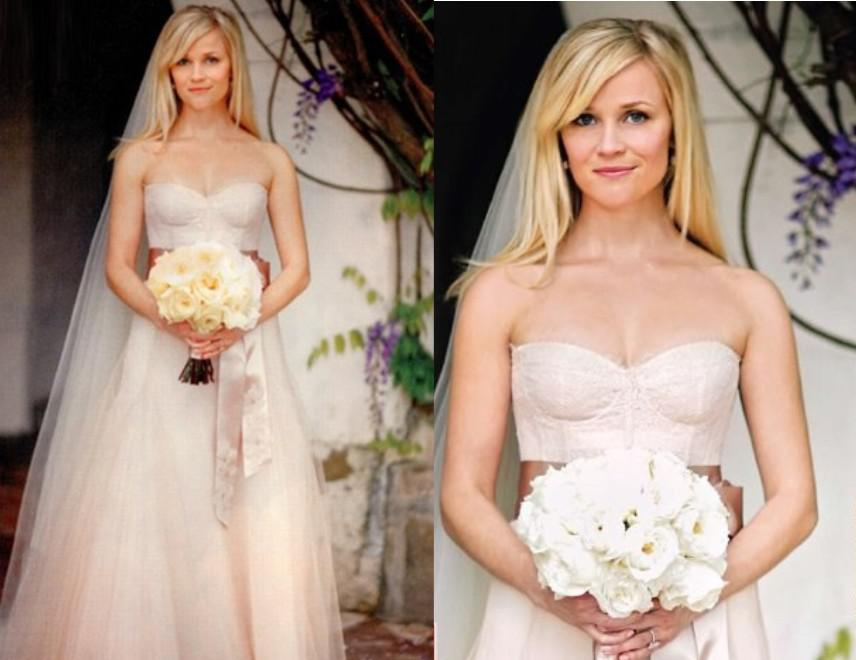 Reese Witherspoon Pale Pink Celebrity Inspired Bridal Gown